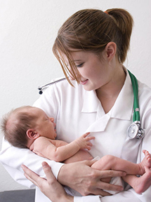 Female doc and baby