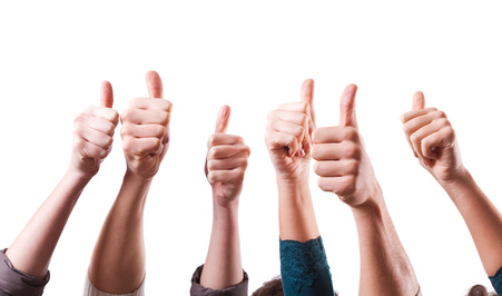 Group with thumbs up