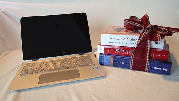computer and books wrapped in a Christmas bow