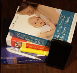 Stack of lactation books